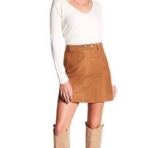Michael Stars 100% brown suede leather skirt